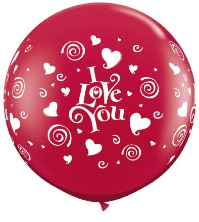 3' Ruby Red  I Love You Swirling Hearts Latex Balloons x 2